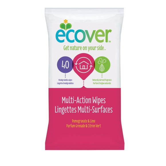 40 Ecover Pomegranate Multi-Surface Wipes Pink