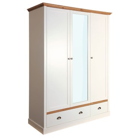 Sandringham White 4 Drawer Triple Wardrobe