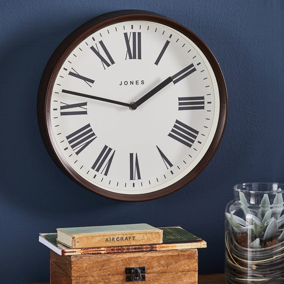 Jones 31cm Wood Effect Wall Clock Brown