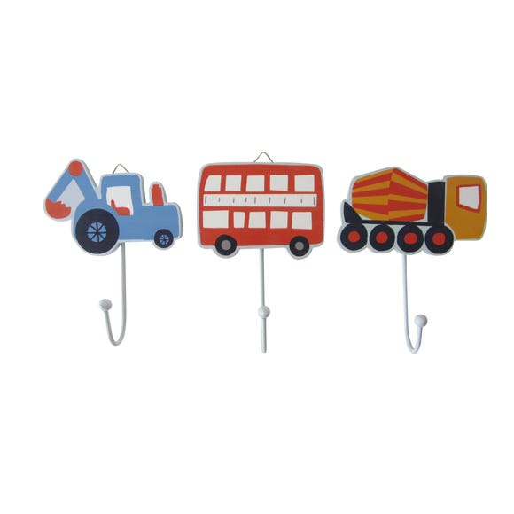 Set of 3 Transport Wall Hooks MultiColoured