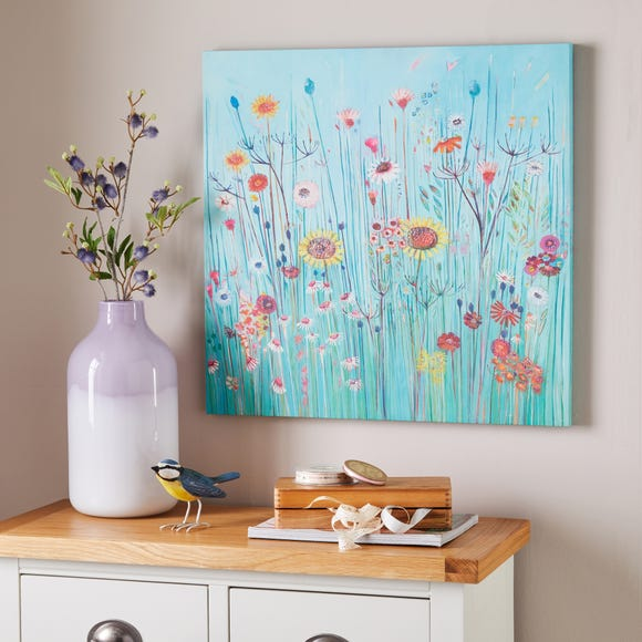 Bright Field of Flowers Canvas Multicoloured