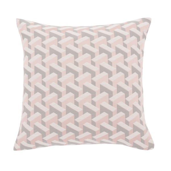 Geometric Pink Jacquard Cushion Cover Pink