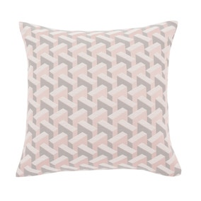 Geometric Pink Jacquard Cushion Cover
