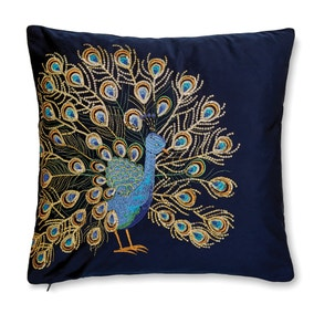 Navy Embroidered Peacock Cushion
