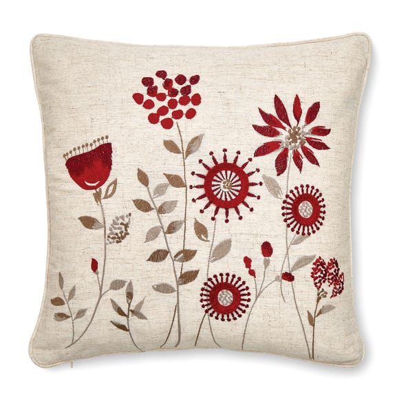 Scandi Field Embroidered Cushion Red