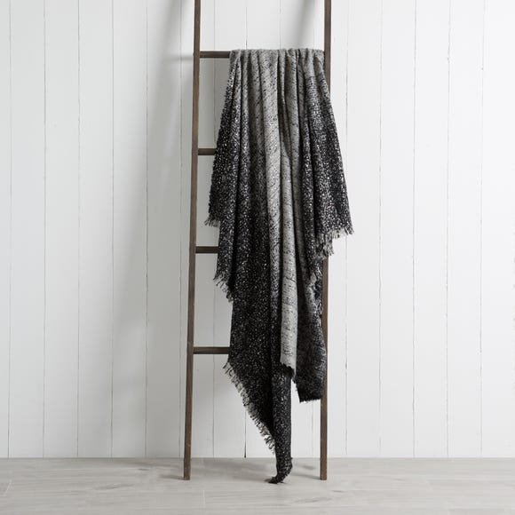 Foil Faux Mohair Throw Foil Faux Mohair Grey
