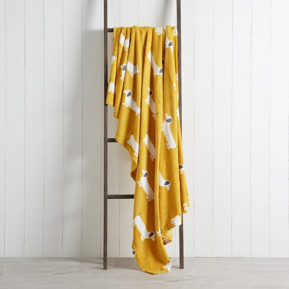 Sausage Dog Yellow 130cm x 170cm Throw Yellow