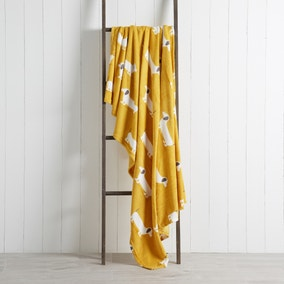 Sausage Dog Yellow 130cm x 170cm Throw