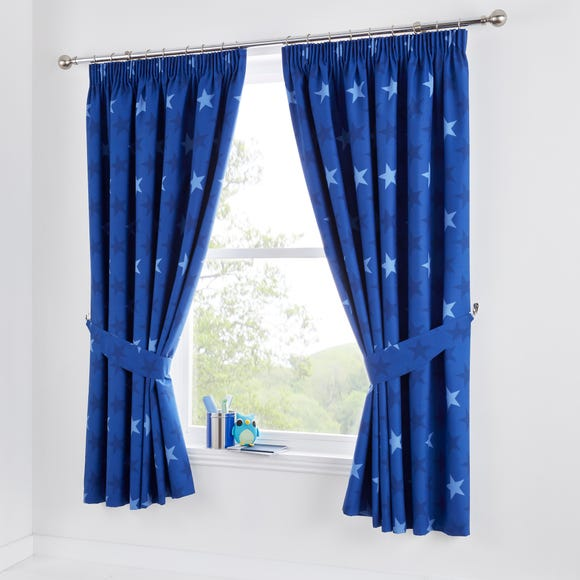 Star Navy Blackout Pencil Pleat Curtains Navy undefined