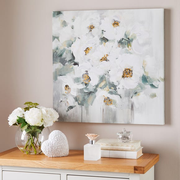 White Abstract Floral Canvas White