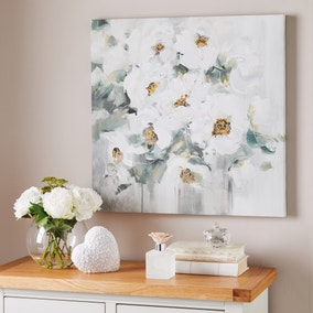 White Abstract Floral Canvas