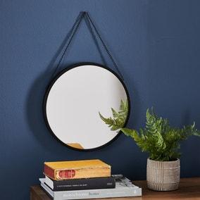 Round Hanging Chain Wall Mirror 31cm Black