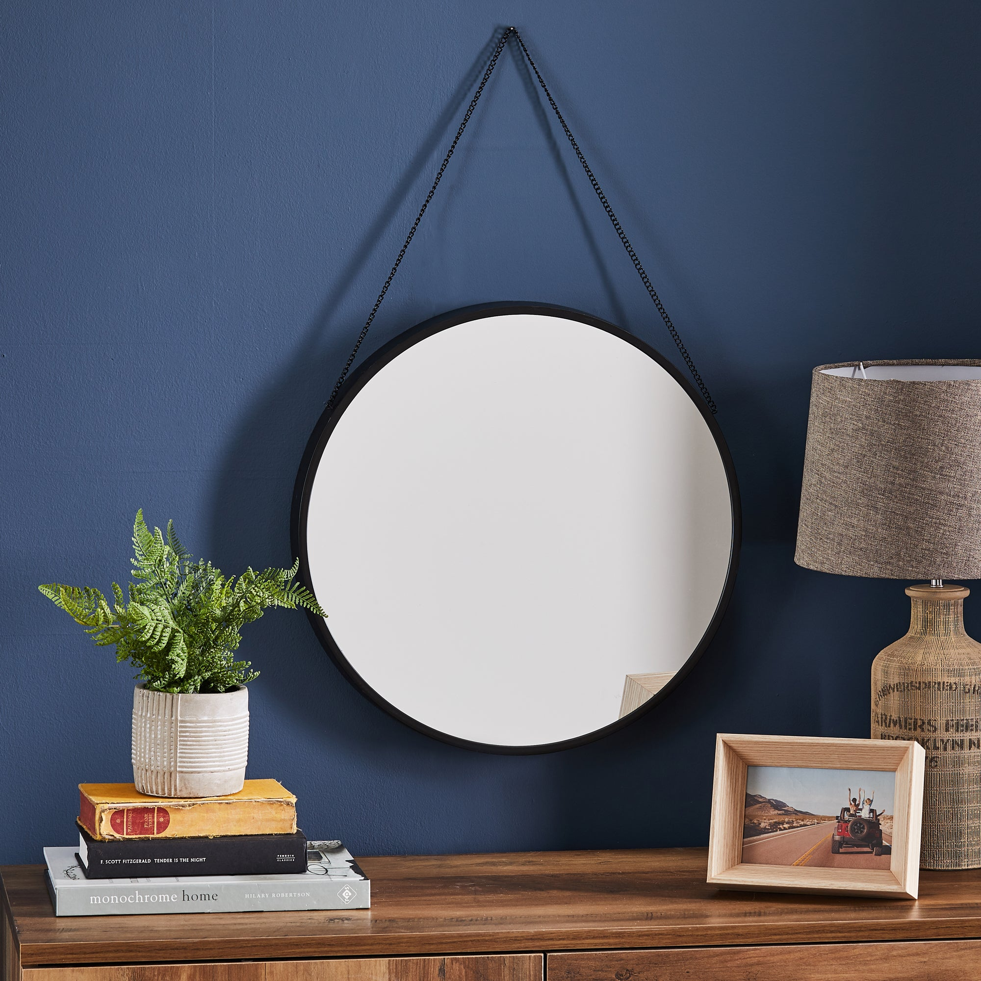 Click to view product details and reviews for Round Hanging Chain Wall Mirror 45cm Black Black.