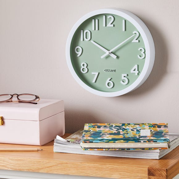 3D Numbers 25cm Wall Clock Sage White