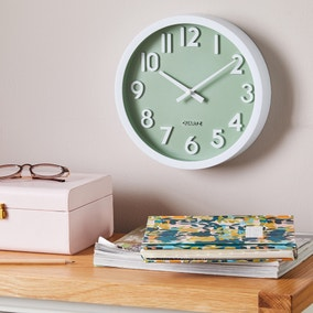 3D Numbers 25cm Wall Clock Sage