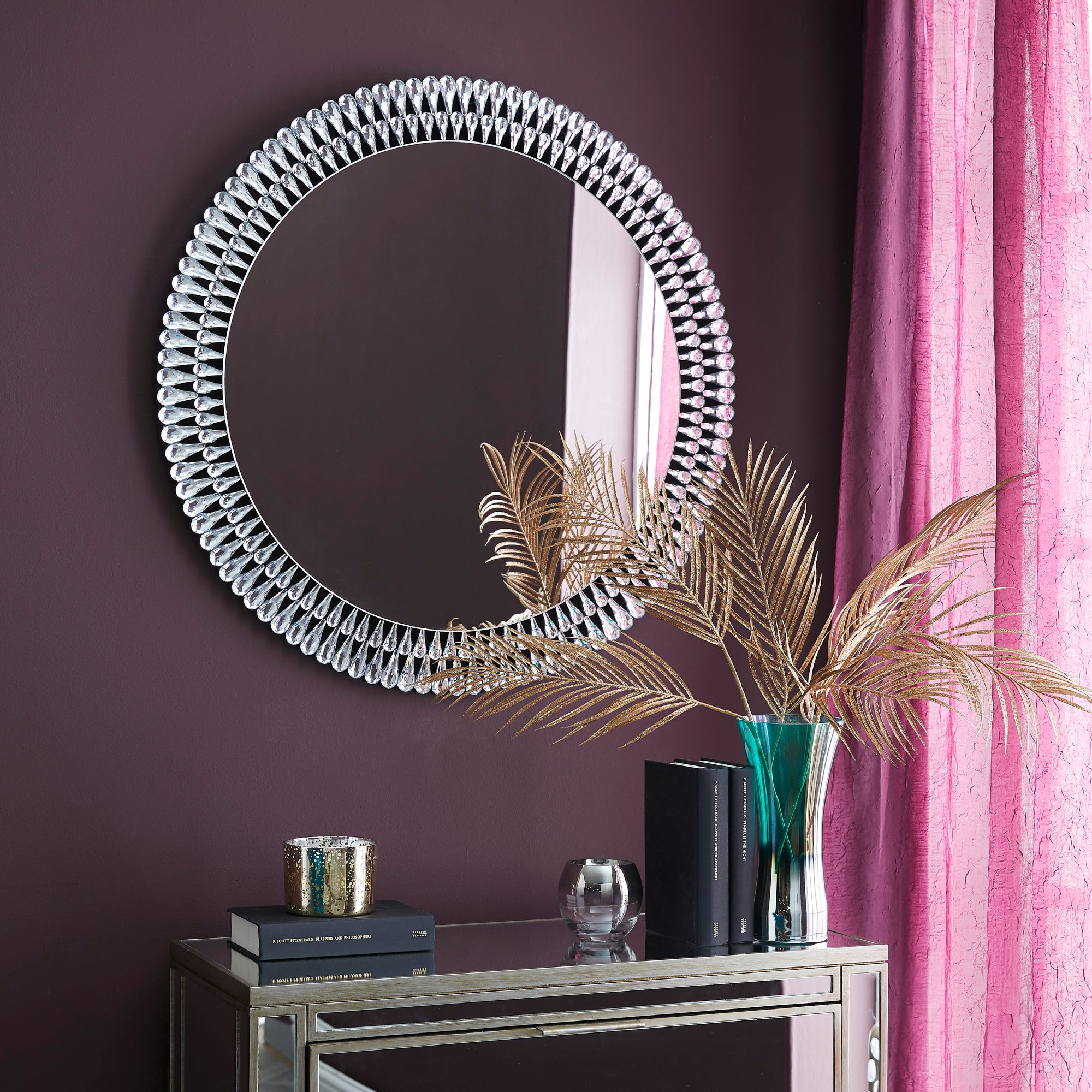 Click to view product details and reviews for Glam Gem Edge Round Wall Mirror 76cm Clear.