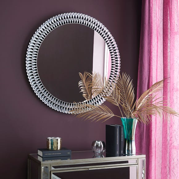 Glam Gem Edge Round Wall Mirror 76cm Clear