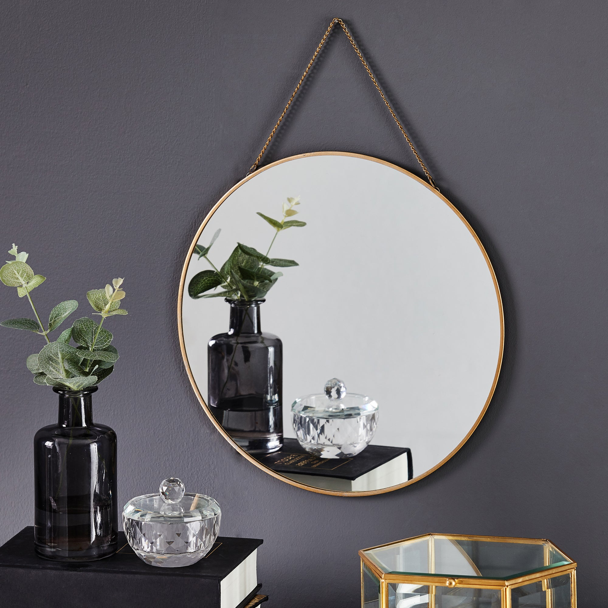Click to view product details and reviews for Round Hanging Chain Wall Mirror 295cm Gold Gold.