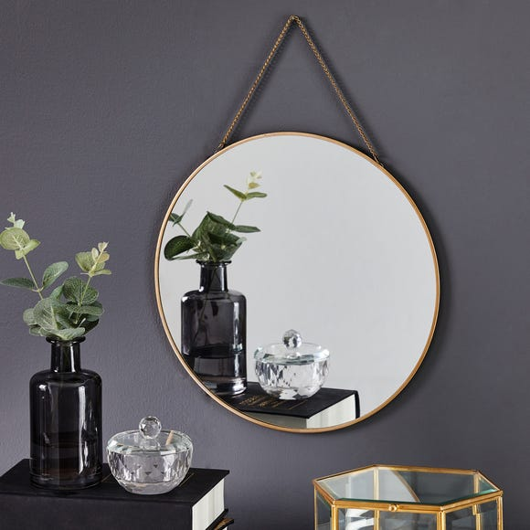Round Hanging Chain Wall Mirror 29.5cm Gold Gold