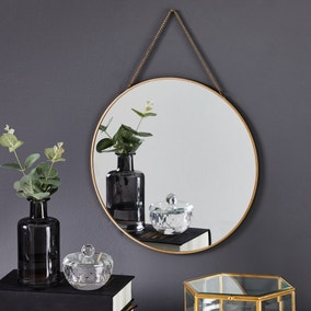 Round Hanging Chain Wall Mirror 29.5cm Gold