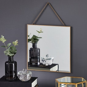 Square Hanging Chain Wall Mirror 27.5x37.5cm Gold