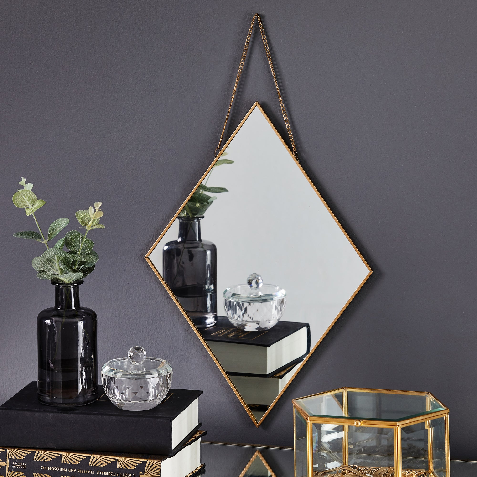 Click to view product details and reviews for Diamond Hanging Chain Wall Mirror 27cm Gold Gold.