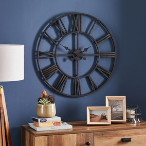 Oversized Skeleton Black Clock