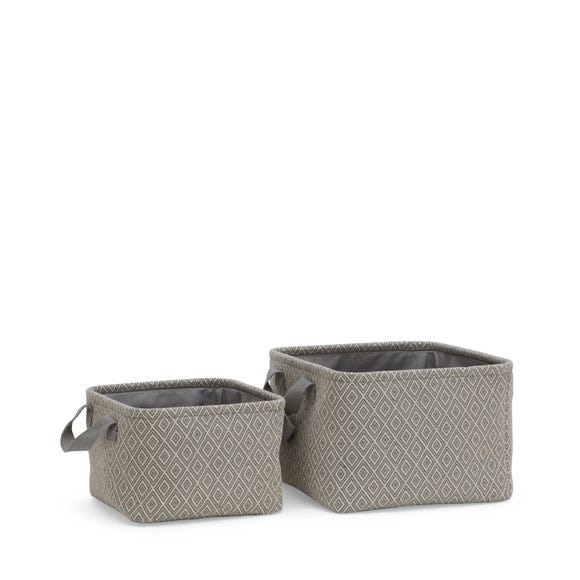 Set of 2 Grey Fabric Storage Baskets Grey