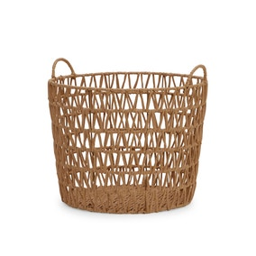 Tapered Brown Paper Rope Storage Basket