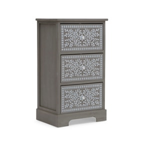 3 Drawer Grey & White Painted Storage Tower