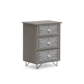 3 Drawer Grey & White Painted Accessory Storage Tower
