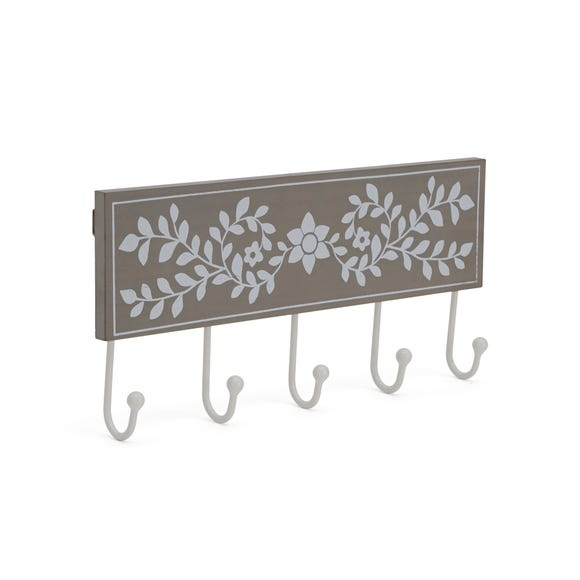 Grey & White Painted Coat Hooks Grey