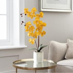 Artificial Orchid Ochre in Grey Pot 56cm