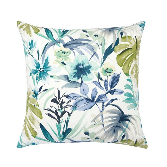 Tropical Floral Blue Cushion Cover Blue
