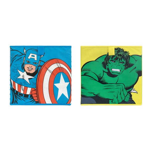 Disney Marvel Comics Pack of 2 Collapsible Storage Cubes Multi Coloured