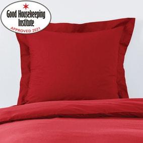 Non Iron Plain Dye Red Continental Square Pillowcase