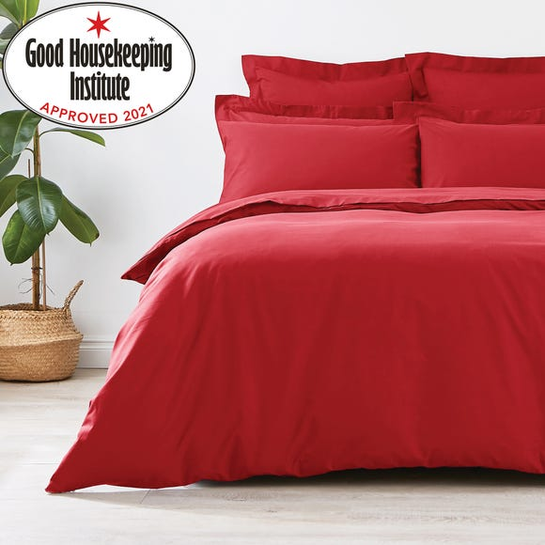 Non Iron Plain Dye Red Duvet Cover  undefined