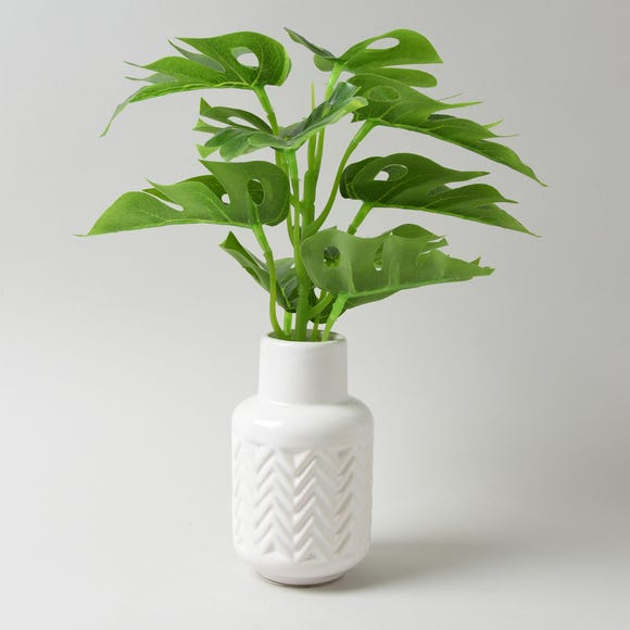 Artificial Cheeseplant in white vase 30cm White