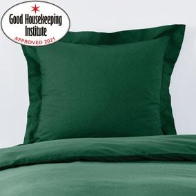 Non Iron Plain Dye Hunter Green Continental Square Pillowcase