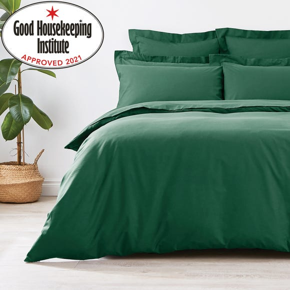 Non Iron Plain Dye Hunter Green Duvet Cover Green undefined