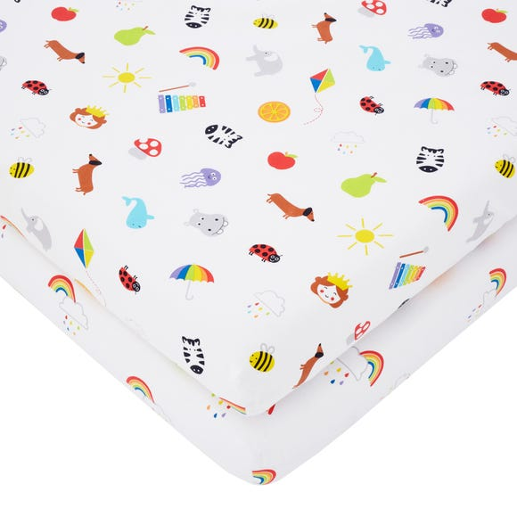Rainbow Pack of 2 Fitted Sheets MultiColoured undefined