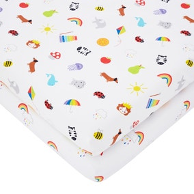 Rainbow Pack of 2 Fitted Sheets
