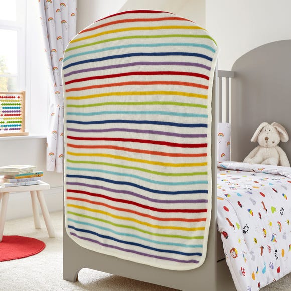 Rainbow Knitted Blanket MultiColoured