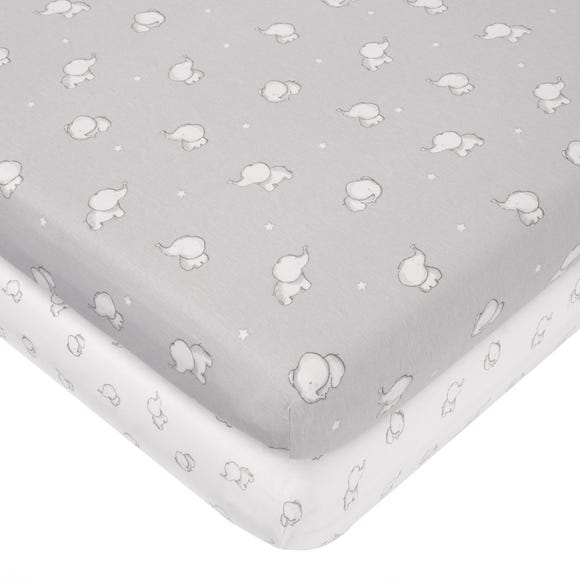 Tiny But Mighty Jersey Pack of 2 Cot Fitted Sheets Grey