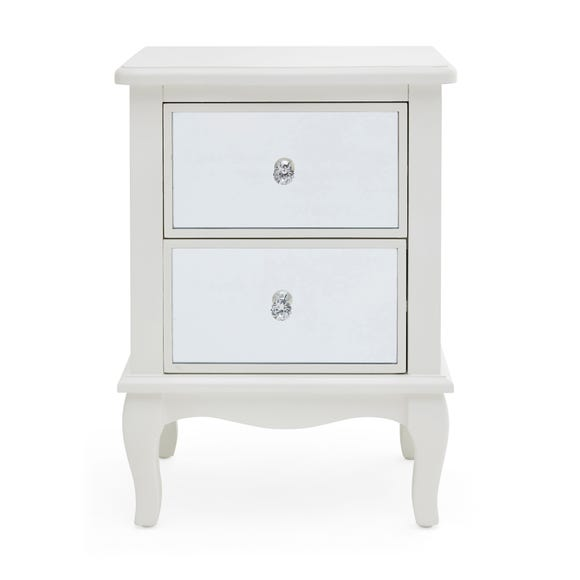 Palais Mirrored Ivory 2 Drawer Bedside Table Ivory