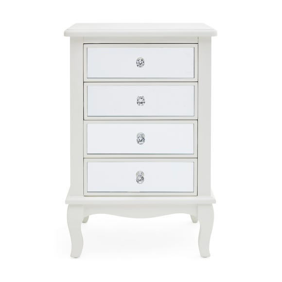 Palais Mirrored Ivory 4 Drawer Bedside Table Ivory