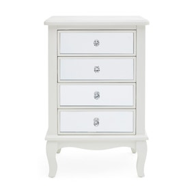 Palais Mirrored Ivory 4 Drawer Bedside Table