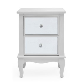 Palais Mirrored Grey 2 Drawer Bedside Table
