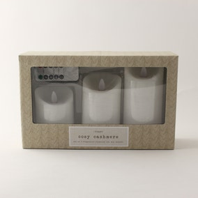 Hygge Cosy Cashmere Set of 3 LED White Candles