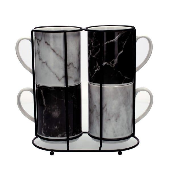 Marble Black Effect Stacking Mugs Black